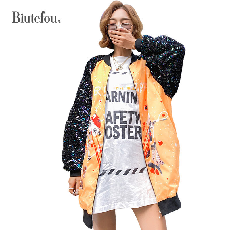 2019 New arrival sequins loose jackets women spring cartoon long jackets