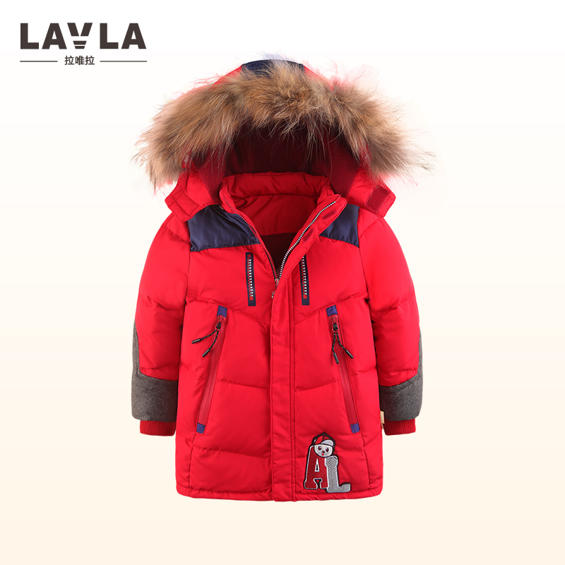 2017 Lavla Children Duck Down Winter Warm Jacket With Fur Baby Boy Girl Solid Overcoat Hooded Winter Jacket Kid Clothing Coat children duck down jacket coat with imitation fur boy girl removable hooded overcoat winter warm thick outerwear kid clothes