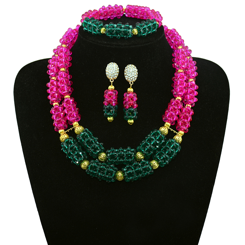 nigerian wedding african beads jewelry set crystal Fashion Rose Malachite green crystal jewelry set Bridal & Bridal Jewelry Set classical malachite green round shell simulated pearl abacus crystal 7 rows necklace earrings women ceremony jewelry set b1303