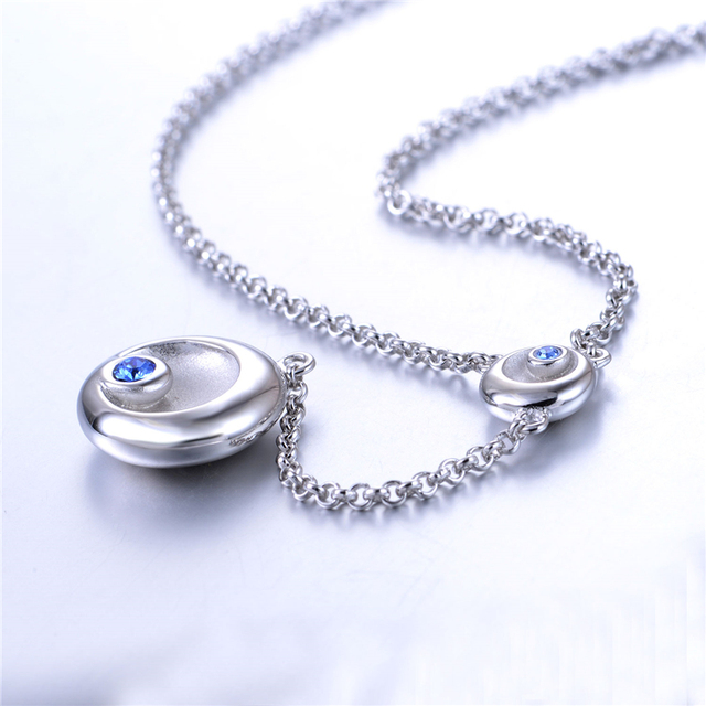 New Hot Selling Necklaces 925 Sterling-Silver Pave Blue CZ Stone Star Moon Pendant Accessories for Women Jewelry DIY Wholesale