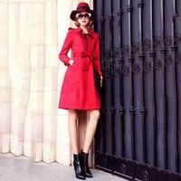 Ky Q 2018 Spring Luxury Women Red Orange Formal Dresses Long Sleeve Lace Up Sash Dresses