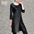 Black genuine leather spliced dress sheepskin A-Line split dress one piece robe femme ropa mujer vestido de festa elbise LT1096