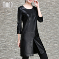 Negro empalmado dress a-line de split dress de una sola pieza de piel de oveja de cuero genuino ropa mujer vestido de festa robe femme elbise lt1096