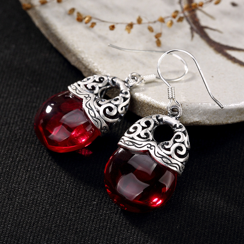 Real 925 Sterling Silver Jewelry Natural Garnet Chalcedony Ethnic Drop Earring For Women Auspicious Clouds Hollow Design