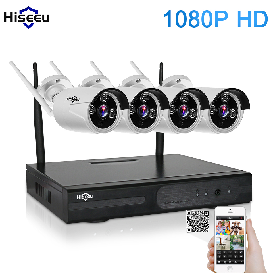 1080P 4CH Wireless NVR CCTV System wifi 2.0MP IR Outdoor Bullet P2P IP Camera Waterproof Security Video Surveillance Kit hiseeu 5 8g 1 0 mp 1 4 color cmos 4ch 720p wifi 1 nvr with 4 pcs waterproof ir bullet wireless ip camera wireless cctv system kit