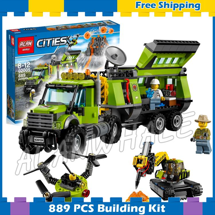 889pcs City Volcano Exploration Mobile Base Mountain Geological Survey 02005 Model Building Blocks Sets Compatible With Lego lepin 02005 volcano exploration base building bricks toys for children game model car gift compatible with decool 60124