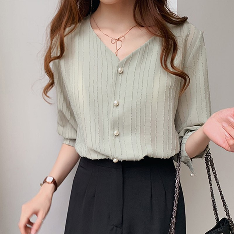 2019 Summer Casual Women's Chiffon Blouses Female Casual Style V Collar Shirt Puff Sleeve Sweet Solid Color Blouse