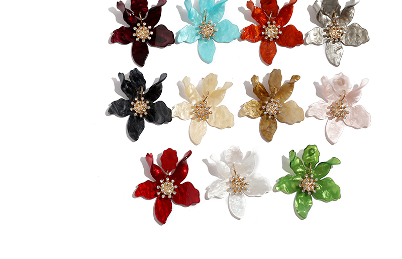 Fashion Big Stud Earrings For Women Wedding Party Bohemian Acrylic White Flower Earrings Statement Boho Jewelry Gifts (5)