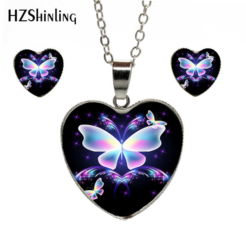 2019 Hot Fashion Magic Charming Blue Neon Butterfly Heat Necklace Earring Set Handmade Jewelry Set Wonderful Gift For Women