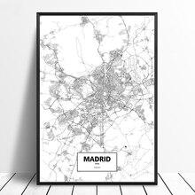 Spanien Karte Schwarz Weiß.Großhandel Madrid Wall Gallery Billig Kaufen Madrid Wall Partien