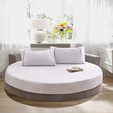 100% 순수 코 튼 라운드 장착 침대 시트 유럽 스타일 솔리드 컬러 침대보 침대 린 넨 라운드 직경 200cm 220cm