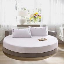 100% saf pamuk yuvarlak lastikli çarşaf avrupa tarzı düz renk yatak örtüsü çarşaf yuvarlak çapı 200cm 220cm