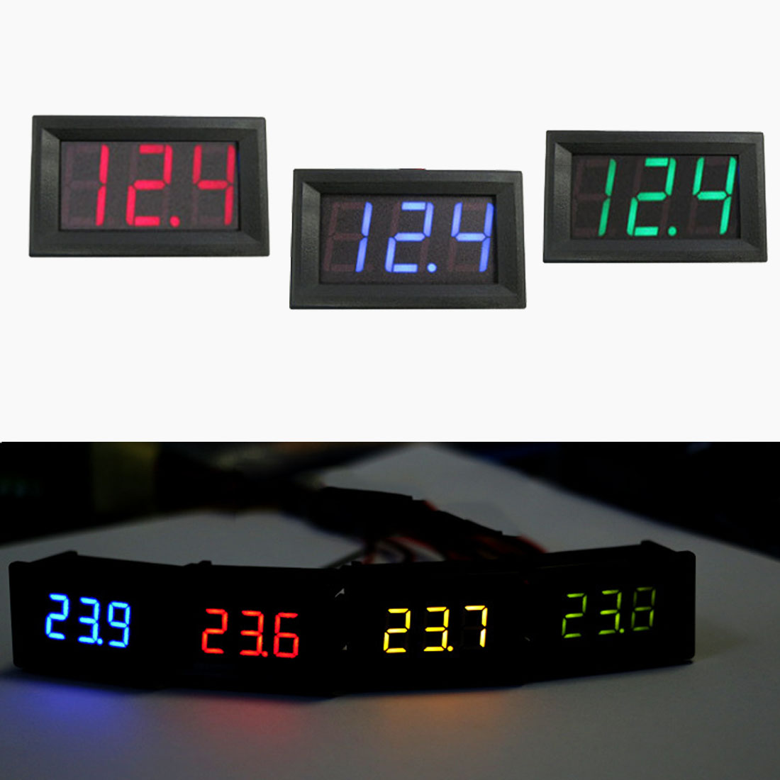 Voltage indicator 0.56 inch LED display DC 4.50v-30.0v Household voltmeter 2 line red and black Digital voltmeter