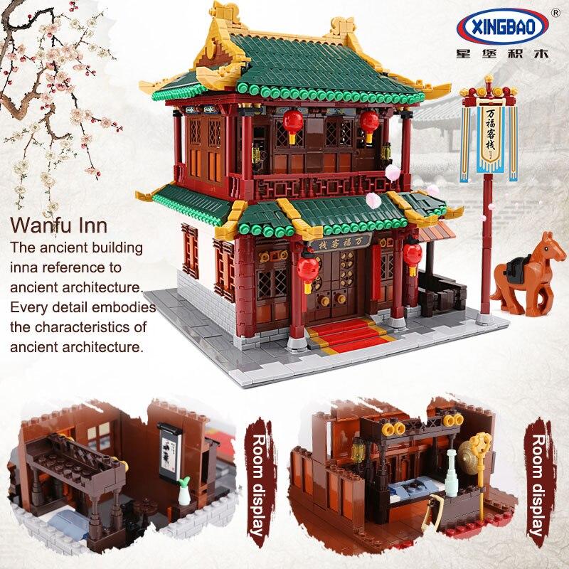 XINGBAO 01022 3046 Pcs Creatore della Serie Cinese Famosa Architettura Blocchi Il Wanfu Inn Set Blocchi di Costruzione MOC Mattoni Modello di Casa - 4