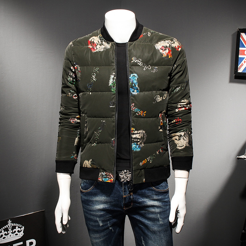 Brand Clothing Men Jackets and Coats Winter Fashion Slim Fit Luxury Print Men Parkas Stand Collar Casual Thick Warm Jackets Mens