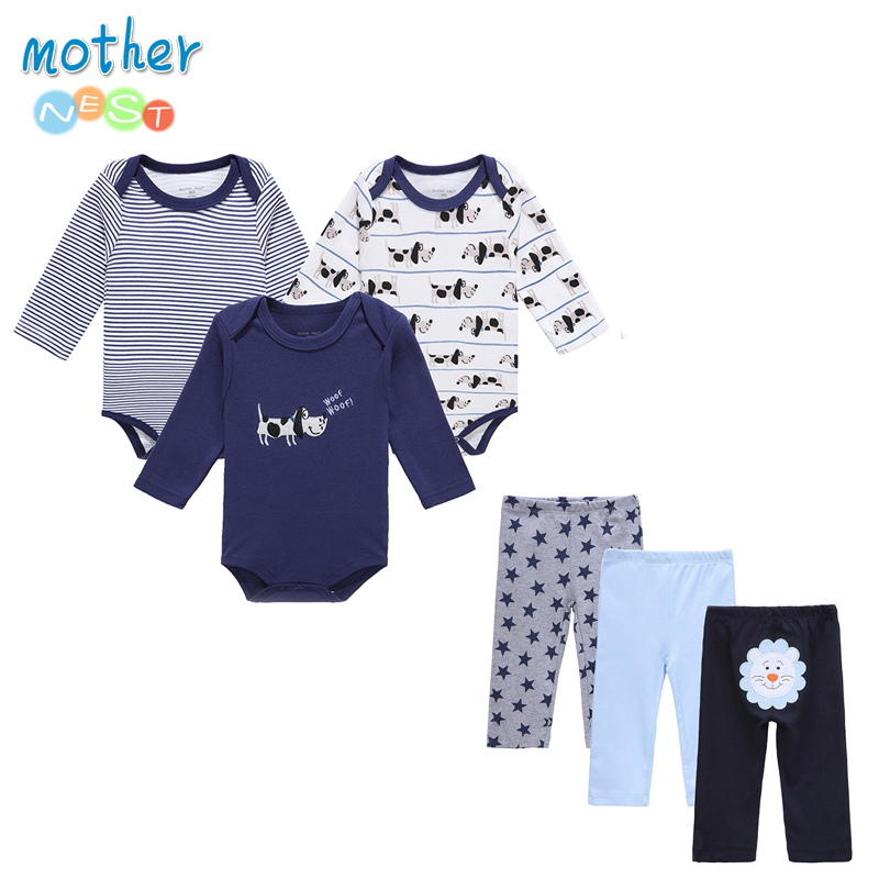 6 PCS / Lot Mother Nest Baby Boy Kläder NewBorn Toddler Infant 0-12 Höst / Vår Baby Rompers + Baby Byxor Baby Kläder Set