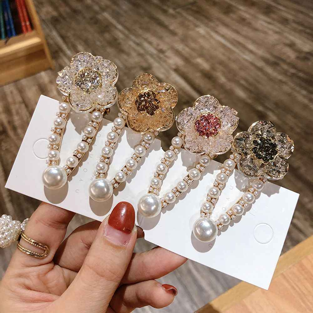 Fashion Women Pearl Hair Clip Hairpin Elegant Crystal Flower Snap Barrette Stick Women Girls Hair Styling Accessories