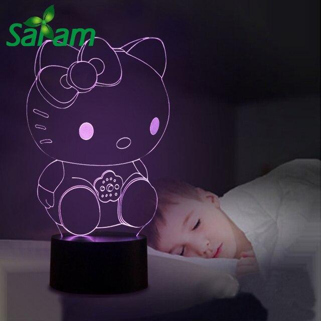 Hello Kitty 3D Illusion Kids Night Light Lamp 7 Colors Led Desk Lamp For  Bed Modern