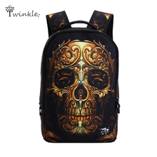Mochila vintage canvas 3D Cartoon printing backpack men punk rock women backpacks Bag Skull Backpack school bags for teenagers