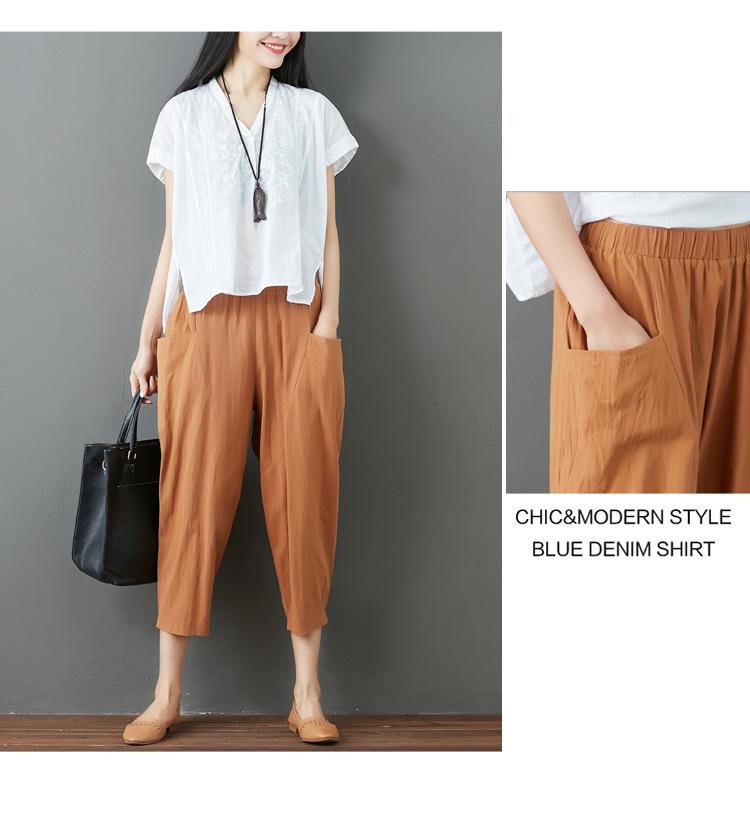 Summer Elastic Waist Cotton Linen Pocket Harem Pant Vintage Loose Mori Girl Oversized Home Tracksuit Plus Size Trouser Workout 55