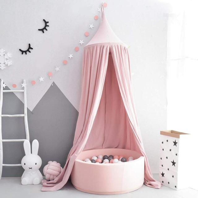 Pink Princess Girls Muslin Cotton Bed Cot Crib Play Canopy Hanging Tent Dome Baldachin & Pink Princess Girls Muslin Cotton Bed Cot Crib Play Canopy Hanging ...