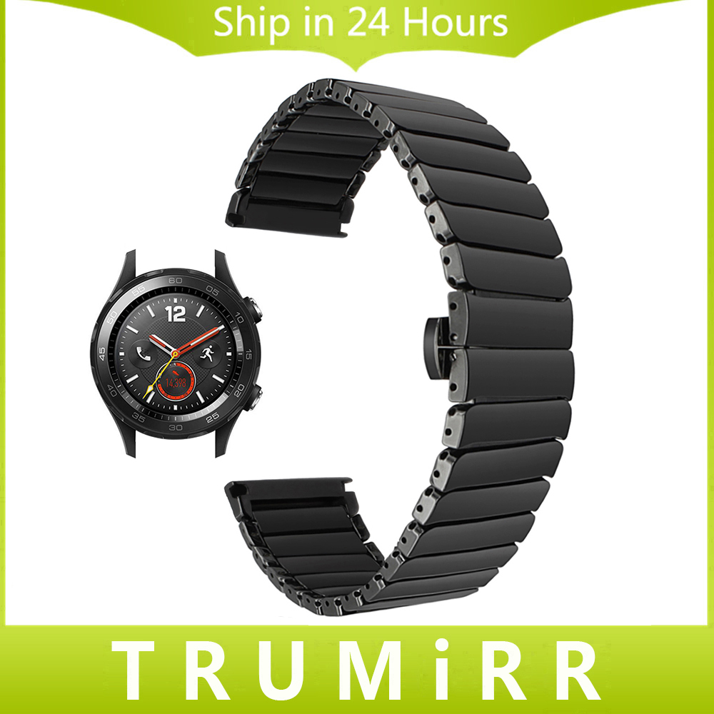 20mm Full Ceramic Watchband for Huawei Watch 2 (Sport) Pebble Time Round 20mm Band Steel Butterfly Clasp Wrist Strap Black White 14mm full ceramic watch band link remover for pebble time round 14mm women s butterfly buckle strap wrist bracelet black white