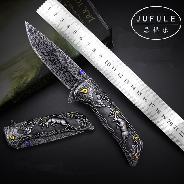 JUFULE Original Design Deer Damascus pattern camp hunt pocket survival EDC tools tactical outdoor flipper folding kitchen knife 1