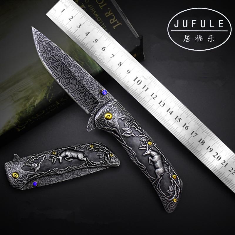 JUFULE Original Design Deer Damascus pattern camp hunt pocket survival EDC tools tactical outdoor flipper folding kitchen knife