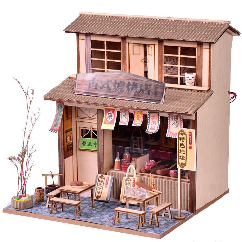 Luxury lights House puzzle model kits DIY Chinese cuisine barbecue restaurant Creative Christmas gifts English manuals