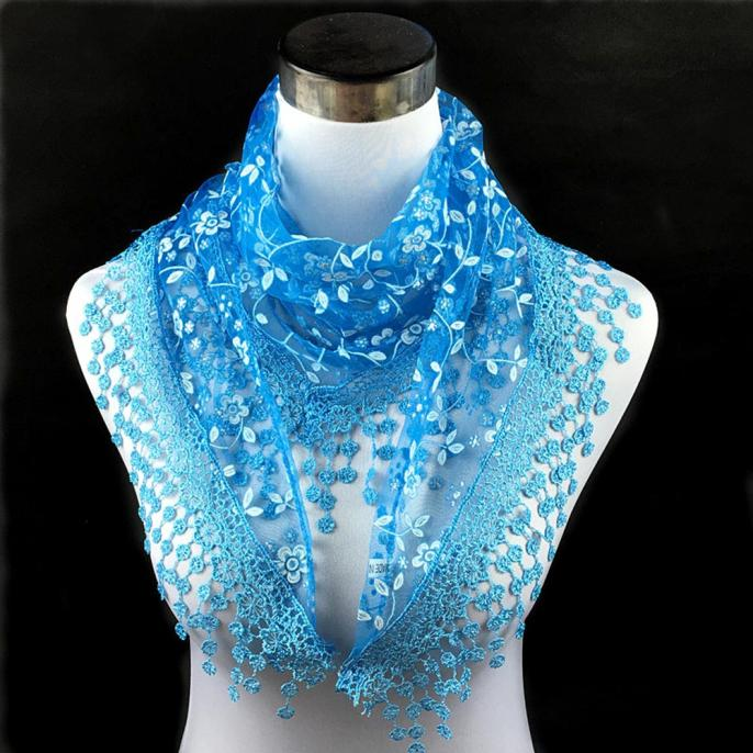 2019 Women Scarf Blue Fashion Lace Tassel Sheer Burntout Floral Print Mantilla Scarf Shawl Warm And Light Scarf L308