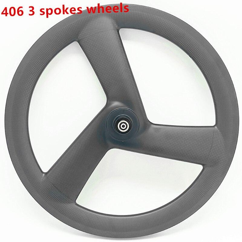 Best carbon 3 spokes wheels bicycle carbon 3 spokes wheelset 3K UD 20in 406 3 spokes wheels 100x9mm 130x9mm V brake 20in wheels 0