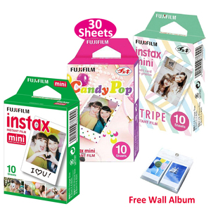 Image 1 - Genuine Fujifilm Instax Mini Film Stripe + Candy Pop + White Film 3 Packs For Fuji Instant Mini 8 9 70  90 25 Camera SP 1 SP 2