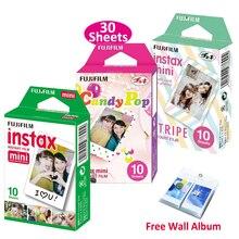 Véritable Fujifilm Instax Mini Film rayure + bonbon Pop + Film blanc 3 paquets pour Fuji instantané Mini 8 9 70 90 25 appareil photo SP 1 SP 2