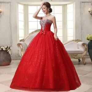 Image 3 - リアルフォトカスタマイズ 2020 韓国スタイル甘いロマンチックな古典的なレース赤王女のウェディングドレスストラップレスマリアージュのウェディングドレス
