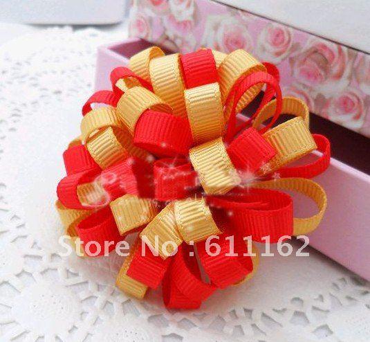 Лучшие продажи дети цветов волос Лук Loopy шар цвета Смешанный цикл шаровые девушки B абы волос 40 шт. 1111
