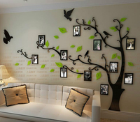 Free shipping Photo frame tree Crystal acrylic three-dimensional wall stickers TV sofa background wall stickers