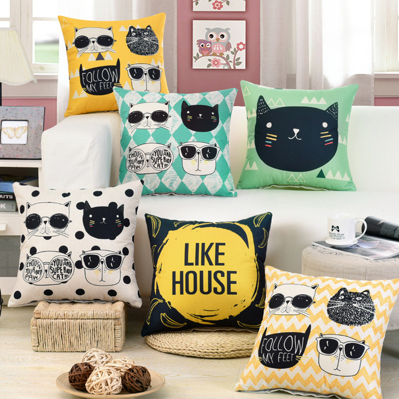 Yellow Cool Cats Cushion Cover Pillow Case Like House Home Decorative Throw Pillow Cover For Sofa Car Cojines BZ-083