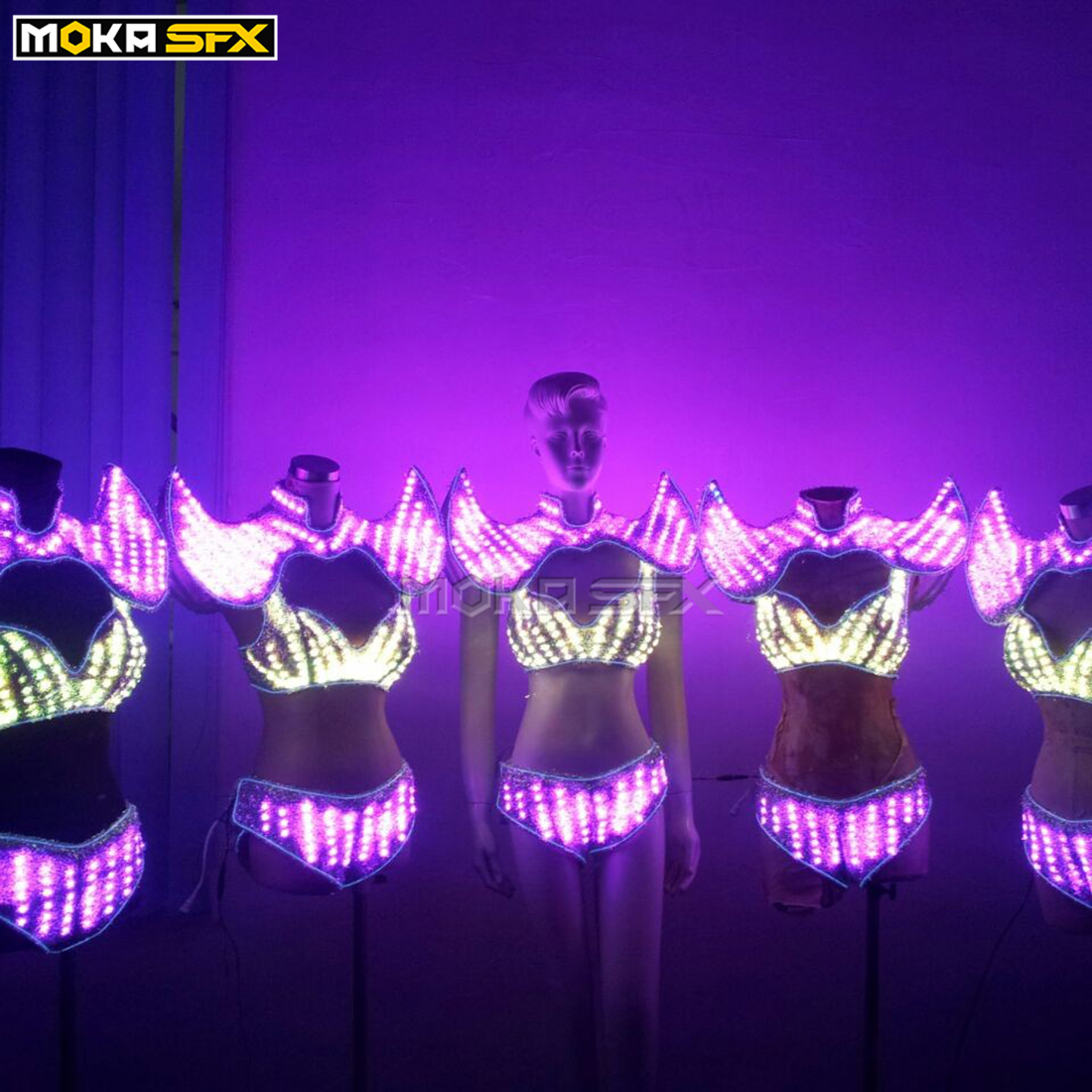 LED luminous Women dress glowing lady robot costume color change women sexy bra clothes for party DJ nightclub stage wear show