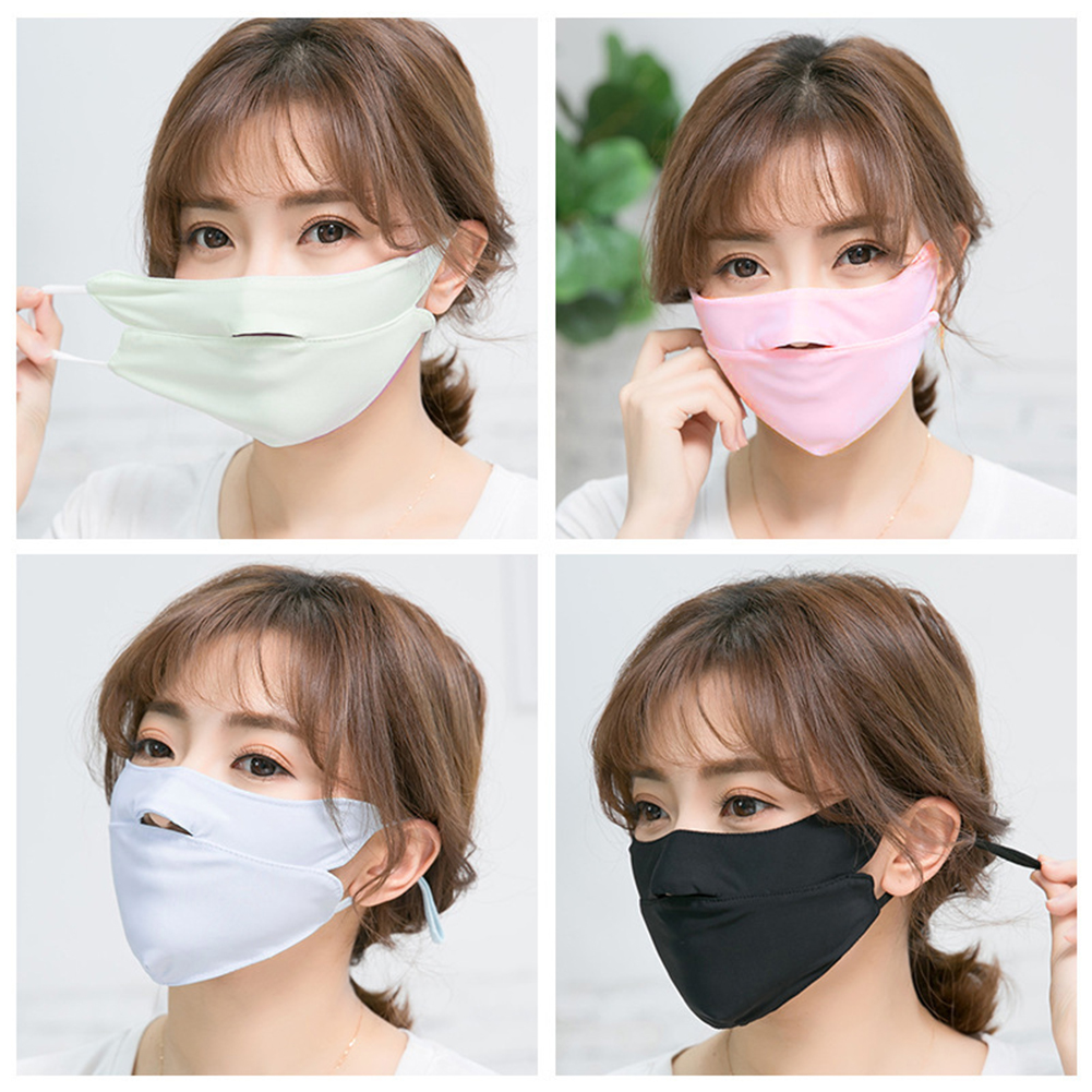 Summer Ice Silk Thin Sunscreen Open Nose Mouth Face Mask UV Protection Breathable Cycling Sold Color Washable Earloop Respirator