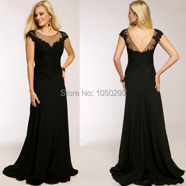 New Fashion Dress For Prom Night Top Lace Cap Sleeve 2015 Black Prom ...