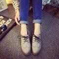 AD AcolorDay 2017 Тенденция Башмаки Оксфорд Обувь для Женщин Зашнуровать Старинные Кожаные Ботинки Женщин Классические Плоские Туфли Женщин Случайные