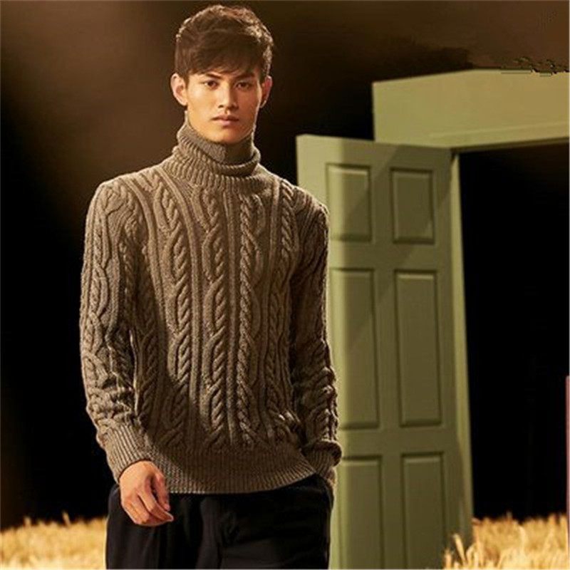 100% Hand Made Pure Wool Turtleneck Knit Men Fashion Solid Loose Twisted Pullover Sweater One&over Size