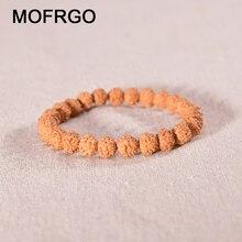 MOFRGO 8mm Beads Bracelets for Women Trinket Natural Rudraksha Wood Tibetan Mala Beaded Bracelet Men Charm New Year Fashion Gift
