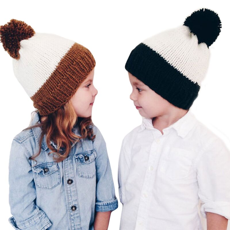 Mother And Kids Winter Caps Real Fur Pompom Hats For Women Wool Knitted Baby Girls Boys Pom Pom Hat Warm Beanies Skullies Bonnet baby thick kids knitted hats for winter with 12cm real fox fur pom poms baby caps good quality cashmere boys girls beanie hats
