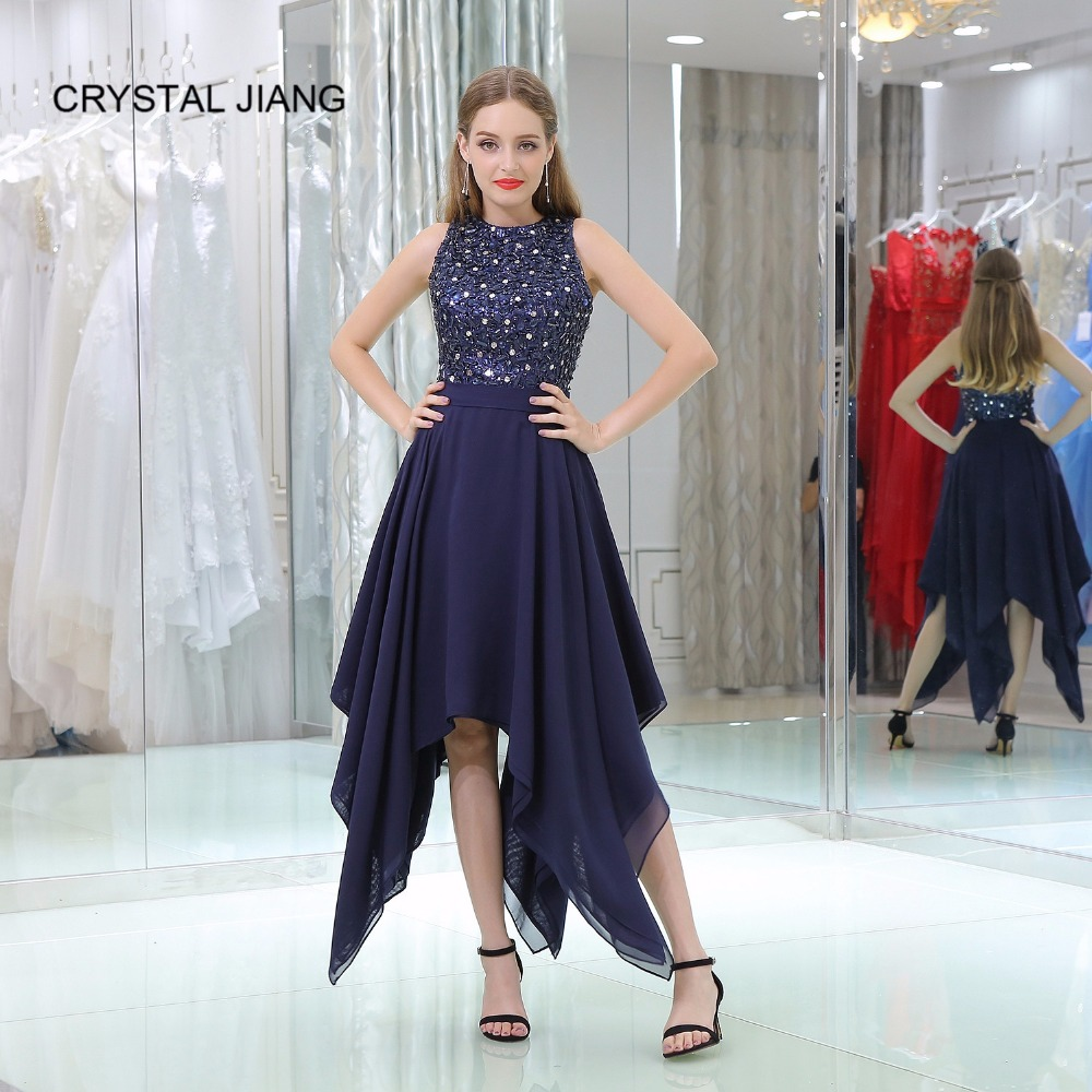 CRYSTAL JIANG 2018 Navy   Cocktail     Dress   Crystal Beaded Custom made Asymmetrical Skirt Sleeveless Elegant   Cocktail   Gown Real   Dress