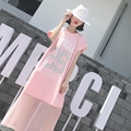 [XITAO] 2016 new fashion sweet edition street wind appliques letters printing short sleeve mid-calf loose dress, NNA-035
