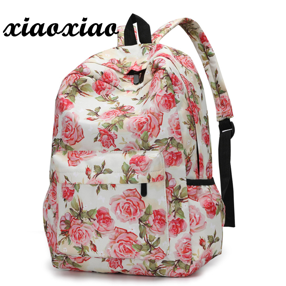 Htnbo Fresh Style Women Backpacks Floral Print Bookbags Canvas Backpack School Bag For Girls Rucksack Female Travel Backpack