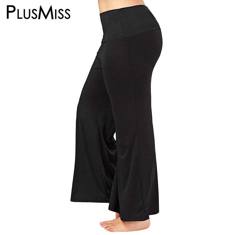 PlusMiss Plus Size High Waist Black   Wide     Leg     Pants   Women Sports Palazzo   Pant   Ladies Loose Flare Trousers Female Large Size 2018