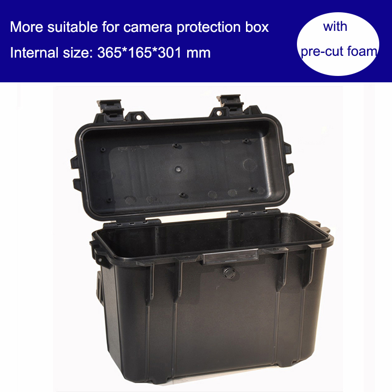 camera protection box bin toolbox Impact resistant sealed waterproof safety case 365x165x301mm tool equipment with pre-cut foam