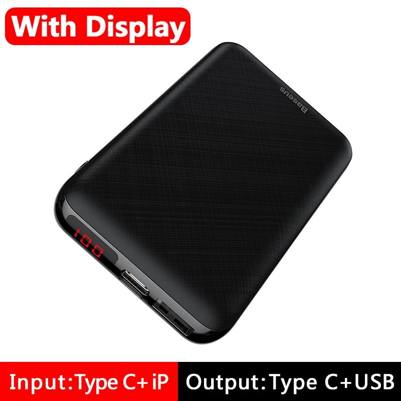 Baseus 10000 мАч mi ni power Bank портативное usb type C быстрое зарядное устройство маленький 10000 мАч power bank для iPhone Xiaomi mi внешний аккумулятор - Цвет: LED Display Black